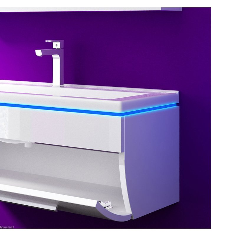 badm belset badezimmerset badm bel set 200 cm 10 teilig weiss hochglanz danny ebay. Black Bedroom Furniture Sets. Home Design Ideas